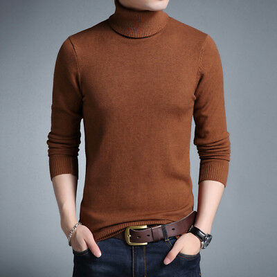 Mens Sweater Turtleneck Solid Color Casual Sweater Men Slim Fit Knitted Pullover