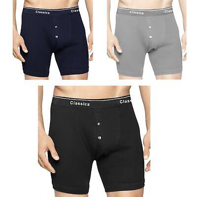 Mens 3 Pack Classic Boxer Shorts Button Fly Soft Ribbed Cotton Underwear Bnwt