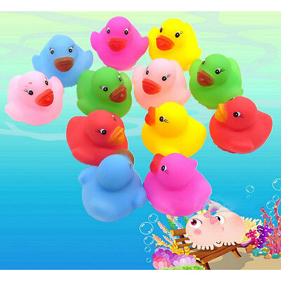 12 Pcs Colorful Baby Children Bath Toys Cute Rubber Squeaky Duck Ducky HGUK