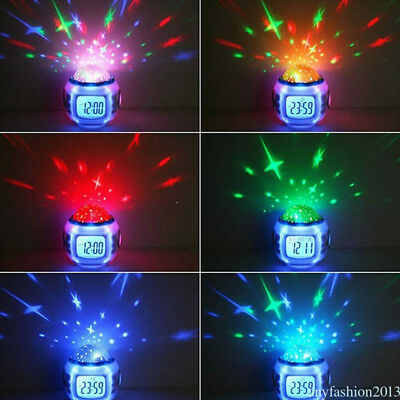 Stress Relieve Bedroom Child 7 Color LED Change Digital Glowing Alarm Clock US3E