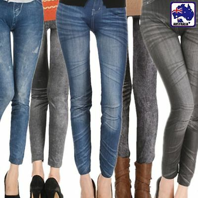 Girl Imitation Jeans Jeggings Skinny Fit Leggings Pants Trousers Tight CPAN009