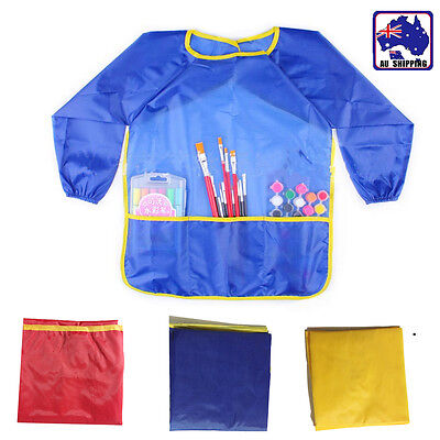Art Apron Long Sleeve Smock Paint Painting Waterproof Craft Kids Drawing HKIA521