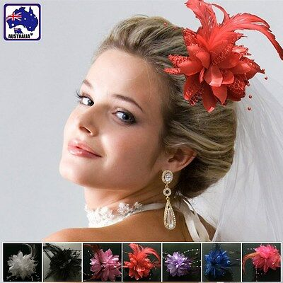 Feather Flower Bride Hair Clip Hairband Wedding Party Prom Corsage JHBAN55
