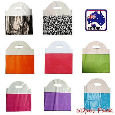 50pcs 25x29cm Plastic Bag Carry Shopping Die Cut Handle Bags Gift Wrap WSHOP 25