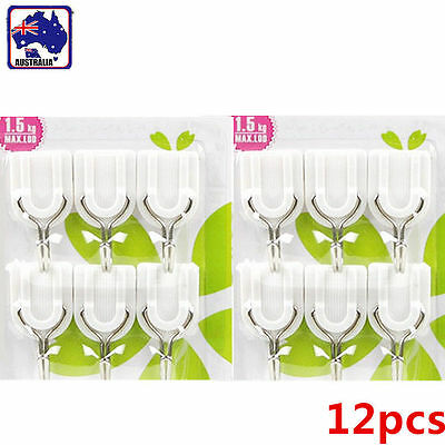12pcs Adhesive Stick On Wall Hooks Clips Clothes Cloth Hanger Hook HHANG 0101x2