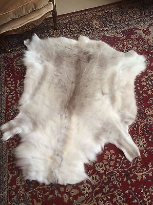 Beautiful pale Grey And White,  thick and soft Reindeer hide skin rug throw