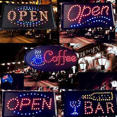 LED Flashing Sign OPEN BAR COFFEE 48x24cm Shop Signboard Logo Light ESIGN 48