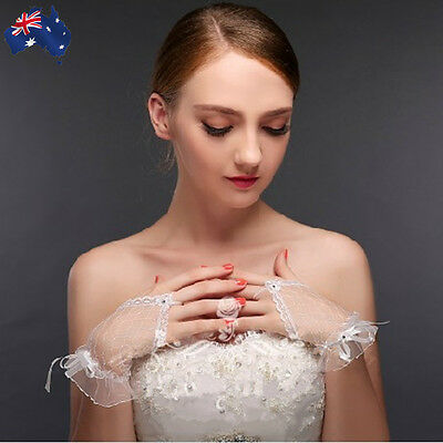 White Bridal Gloves Wedding Satin Lace Evening Party Banquet Bowknot CGLOV 2700