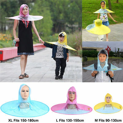 Portable Folding Rain Coat Umbrella Hat Hands Free for Children Outdoor 3 Size