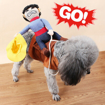 Halloween Fancy Pet Small Large Dog Costumes Riding Cowboy Knight Coat Clothes