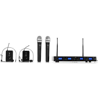 Dj Disco Pa Wireless Microphones 4 Channel 2 Handhelds + 2 Headsets Uhf Receiver
