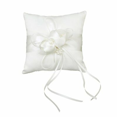 Lovely Ivory Bud Flower Wedding Ring Pillow 6 inch x 6 inch Y5M9