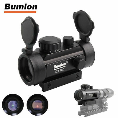 Tactical 1x40mm Airsoft Cross Hari Red Green Dot Sight Scope 11/20mm Rail Mount