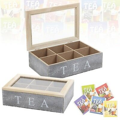 6 Section Grey Wooden Tea Box Chalk Glass Hinged Lid Kitchen Tea Bag Storage NEW