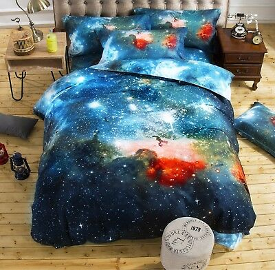 Blue 3D Galaxy Bedding Sets Universe Outer Space Duvet cover Bed Sheet