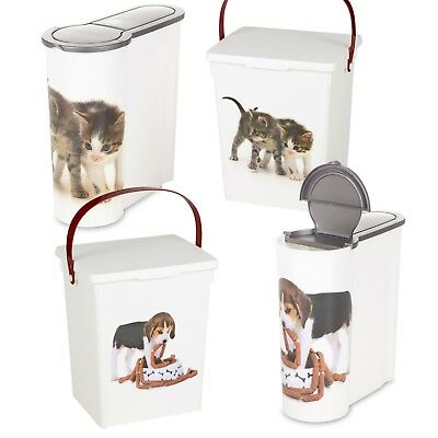 Cat Dog Pet Food Storage Container Box Bucket Bin Table Top Kitchen Cereal Style