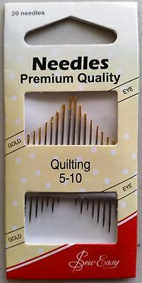 Sew Easy Quilting Hand Needles SIZE 5 -10 Premium Quality Gold Eye - Pack of 20