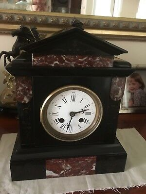 antique French mantle clock - slate & red marble with bell chimes