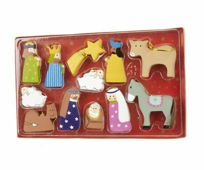Heaven Sends Wooden Set of 12 Novelty Nativity Christmas Tree Decoration Gift