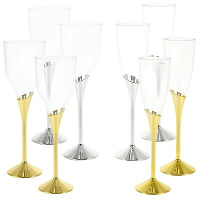 Plastic Wine Champagne Glasses Gold Silver Disposable Tableware Party Pub