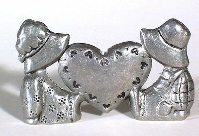 Strawberry Shortcake Kids with Heart Cast Metal Candle Holder, Vintage