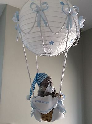 Hot Air Balloon Lamp/light shade. with Tatty Bear Sweet Dreams blue