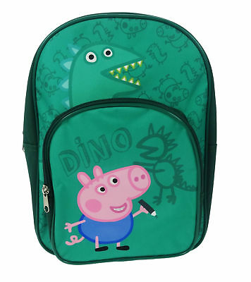 George Pig Dino Arch Backpack With Front Zipped Pocket Green 9 Litres