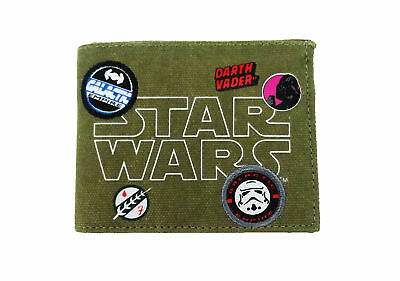 Star Wars Patches Badges Canvas Bill Fold Wallet Green Khaki