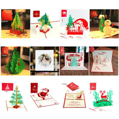3D Pop Up Music Greeting Cards Holiday Christmas Gift Card Postcard Envelope HOT