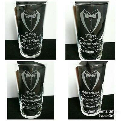 Personalised Engraved Pint Glass - Usher, Best man, Groomsman