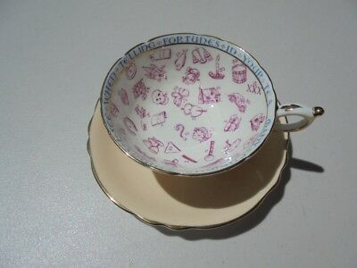 Vintage Paragon Bone China Cup & Saucer Fortune Telling Peach