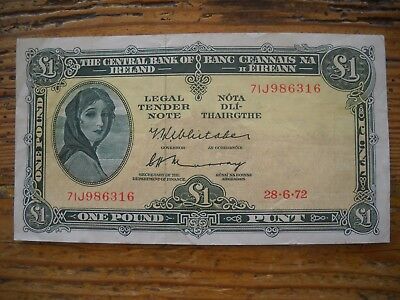 Superb Old Irish Lady Lavery £1 Note 1972