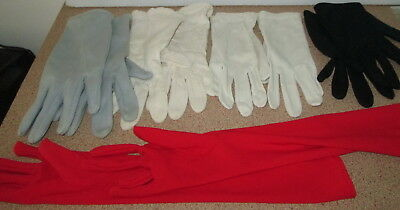 Vintage Ladies Gloves Glove Long Red White Evening Day Retro Lot