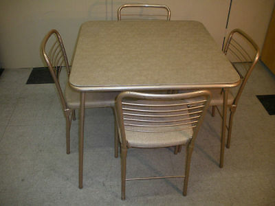 VINTAGE COSCO MID CENTURY 5PC TAN FOLDING CARD TABLE & 4 Fashionfold CHAIRS