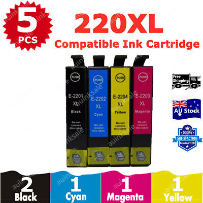 5X Ink Cartridge 220XL 220 XL for Epson workforce WF 2660 WF2650 WF2750 XP 424