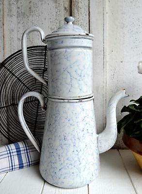 Large Antique French Blue & White Graniteware Coffee Pot Enamel Cafetiere