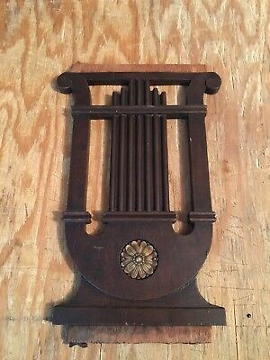 "1930's 10 7/8"" Carved Wood Harp Pediment"