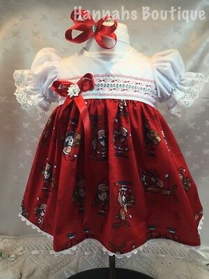 Hannahs Boutique 0-3Month Baby Christmas Dress & Headband Set Or Reborn 20-24""