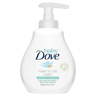 2 x Dove Baby Head To Toe Wash Sensitive Moisture 200ml Each Fragrance Free Pump