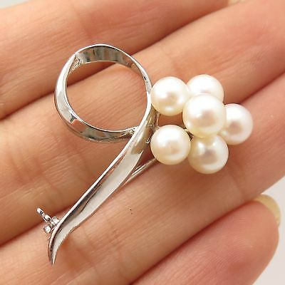 925 Sterling Silver Real Pearl Floral Openwork Pin Brooch