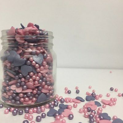 Purple & Pink Glimmer Hearts & Pearls Sprinkles Mix Cupcake / Cake Decorations