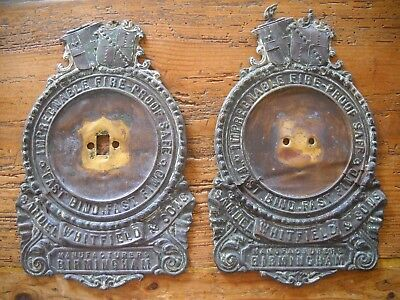 Pair Old Safe Plaques Plates