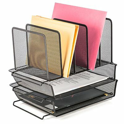 Halter Steel Mesh 5 Slot Step Sorter with 2 Tier Stack-able Letter Trays (Black)
