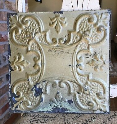 "12"" Antique Tin Ceiling Tile -- Gold Colored Paint with Ornate Design - A2"