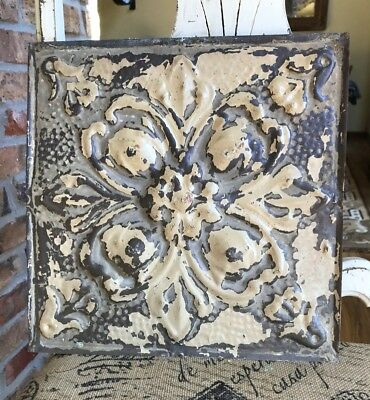 "12"" Antique Tin Ceiling Tile -- tan Colored Paint with Ornate Design - A1"