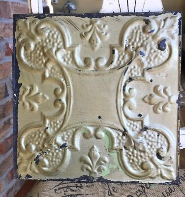 "12"" Antique Tin Ceiling Tile -- Gold Colored Paint with Ornate Design - A4"