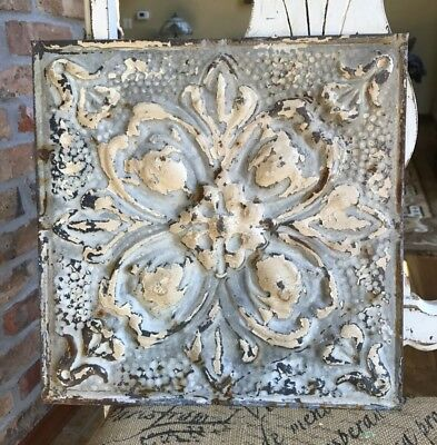"12"" Antique Tin Ceiling Tile -- Tan Colored Paint with Ornate Design - A2"