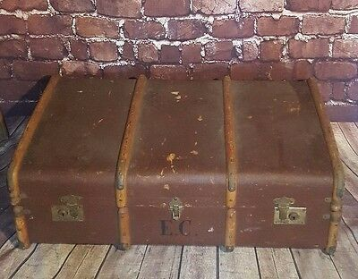Antique Vintage Banded 3 Ply Steamer Trunk Luggage Storage Toy Blanket Box