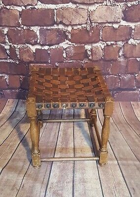 Antique Vintage Leather Strapped Stool Seat Plant Stand Ottoman Footstool Pouffe