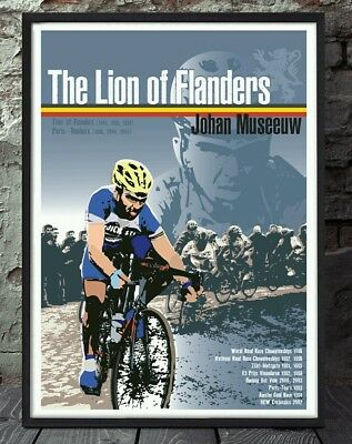 Johan Museeuw lion of flanders belgium cycling art print